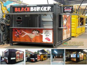 Dijual Cafe/Canteen Container (kontainer/kontener kafe dan kantin) seperti yang sudah kami manufaktur(manufacture) dan install untuk Black Burger. Spesifikasi: 1.Tinggi: 20ft (feet/kaki); 2.Kondisi: Baru.