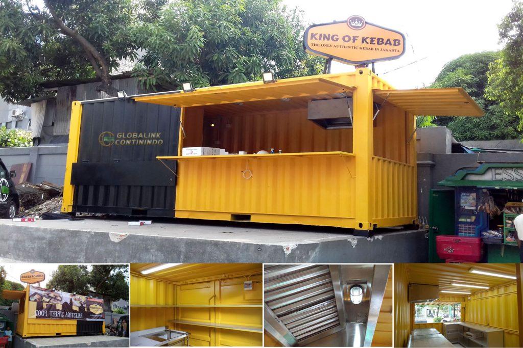 "Cafe/Canteen Container (kontainer/kontener kafe/kantin) seperti yang sudah manufakturkan untuk ""King of Kebab""."
