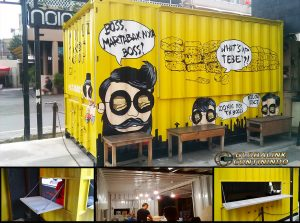 """Dijual Cafe Container Martabak Boss (kontainer/kontener). Container (kontainer/kontener) yang kami modifikasi menjadi cafe (kafe) atau canteen (kantin) seperti yang sudah kami manufaktur (manufacture) dan install untuk """"Martabak Boss""""."""