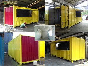 Cafe Container (kontainer/kontener) 20ft (feet/kaki), warna, kuning, baru.