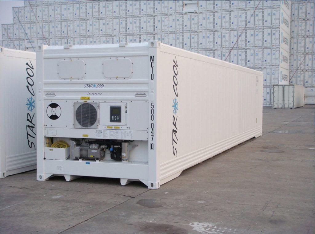 Reefer Container (kontainer/kontener) 40 feet/kaki. Container setinggi 40 kaki (feet) yang dilengkapi dengan sistem pendingin.